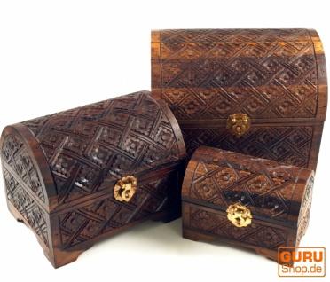 Halbrunde beschnitzte kleine Schatztruhe, Holzschachtel, Schmuck Dose in 3 Größen - Modell 3