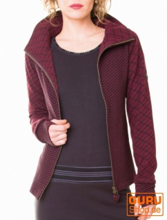 Jacke mit Kapuze aus Bio-Baumwolle / Chapati Design - burg/black