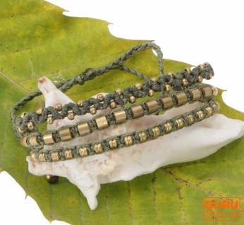 Perlenarmband, Makrameee Armband, Herren Armband - olivgrün