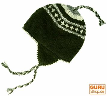 Wollmütze mit Ohrenklappen, Ohrenklappen, mit Norwegermütze - moosgrün cbfe02