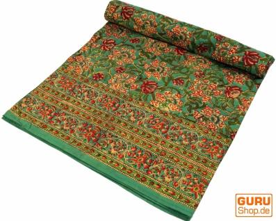 Blockdruck Tagesdecke, Bett & Sofaüberwurf, handgearbeiteter Wandbehang, Wandtuch grün - Design 10