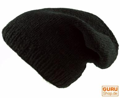 Beanie Mütze, Nepal Strickmütze - schwarz