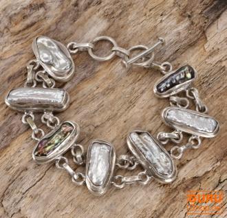 Indisches Boho Silberarmband - Perlmut