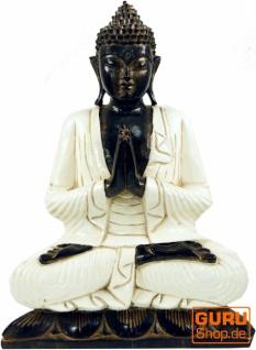 Geschnitzter sitzender Buddha im Anjali Mudra - weiß