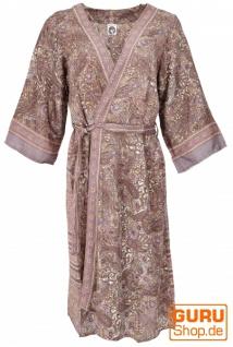 Kimonokleid, seidig glänzender Boho Kimono, 3/4 Kimonomantel - rosa
