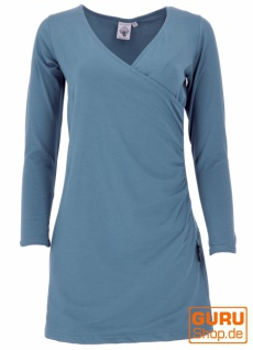 Minikleid aus Bio-Baumwolle in Wickeloptik mit langem Arm, Basic Kleid Organic - majolica
