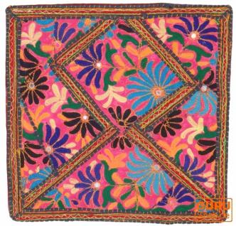 Patchwork Kissenhülle, Dekokissen Bezug aus Rajasthan, Einzelstück - Muster 9