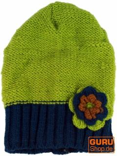 Beanie Mütze, Blume - - - grün b79d47