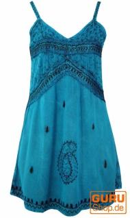 Besticktes indisches Kleid, Boho Minikleid - türkisblau Design 1
