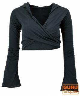 Wickeltop, Yogatop, Langarmshirt mit Trompetenärmeln - schwarz