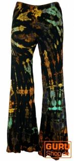 Batik Leggings mit Schlag, Boho Schlaghose - schwarz