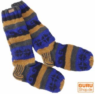 Handgestrickte Schafwollsocken, Nepal Socken 44-46 - blau/beige