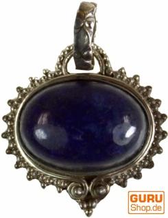 Silberanhänger, Indischer Boho Kettenanhänger - Lapilazuli