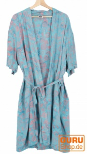Leichter Sommer Kimono, Umhang, Strandkleid aus Batik Sarongstoff - türkies