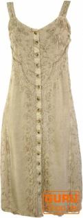 Besticktes Boho Sommerkleid, Midikleid, indisches Hippie Kleid in 3/4 Länge, beige - Design 5