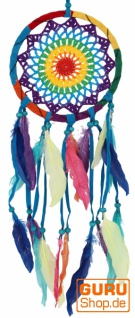 Traumfänger Regenbogen mit gehäckeltem Netz - bunt 17 cm