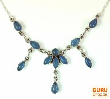 Silberkette mit Halbedelsteinen Calcedon blau