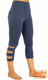 3/4 Psytrance Goa Damen Leggings, Festival Party Hose - taubenblau