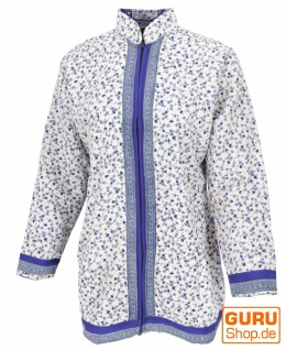 Indische Boho Seidenbrokat Jacke, Sareeseide Mantel, Einzelstück, weiß/blau - Modell 8