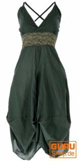 Langes Sommerkleid Hippie chic - olive/helle Spitze
