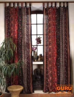 Boho Patchwork Vorhänge, 1 Paar Bohemia Gardine aus Sareestoff, Unikat - dunkelrot