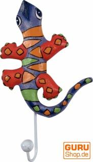 Bunter Holzkleiderhaken, Wandhaken, Kleiderhaken - Gecko 2