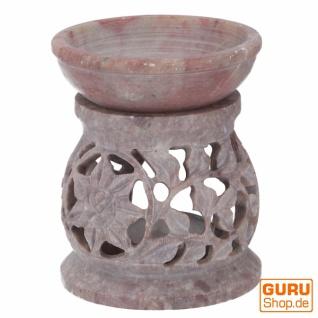 Indische Duftlampe, ätherisches Öl Diffusor, Teelicht Halter für Aromatherapie, Aromalampe aus Speckstein - Rund Blüte 1 - Vorschau 3