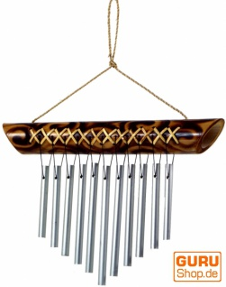 Aluminium Klangspiel, exotisches Windspiel aus Bambus 30 cm - Variante 13