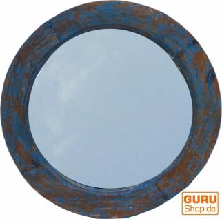 runder Spiegel mit massivem Holzrahmen