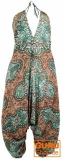 Boho Jumpsuit, Sommer Pluderhose Overall, Aladin Hosenkleid - mint/braun