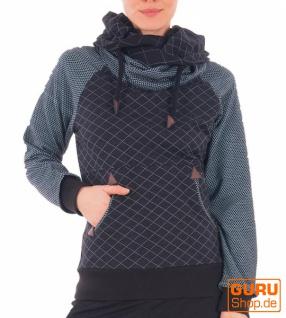 Pullover mit Kapuze aus Bio-Baumwolle / Chapati Design - aqua diamond
