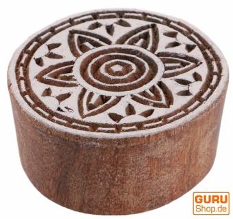 Indischer Textilstempel, Stoffdruckstempel, Blaudruck Stempel, Holz Model - Ø 5 cm Mandala 7