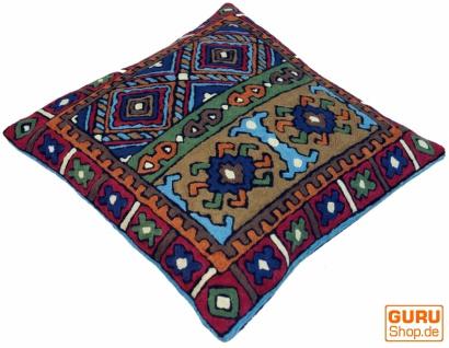 Kelim Kissenhülle `Kaschmir`, bestickter Kissenbezug, Dekokissen aus Wolle - Muster 14