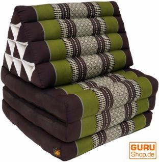 Thaikissen, Dreieckskissen, Kapok, Tagesbett mit 3 Auflagen - braun/grün