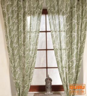 Boho Vorhänge, Gardine (1 Paar ) mit Schlaufen, leicht transparenter handbedruckter ethno Style Vorhang - Muster 9