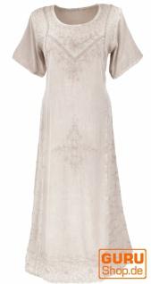 Besticktes Boho Sommerkleid, indisches Hippie Kleid - beige/Design 11