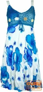 Boho Minikleid, Sommerkleid Hawaii, Krinkelkleid - weiß/türkis
