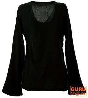 Goa Wickelbluse Baumwolle - schwarz