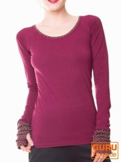 Pullover, Langarmshirt aus Bio-Baumwolle / Chapati Design - wine