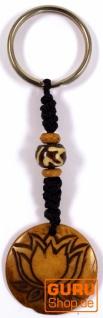 Ethno Tibet Schlüsselanhänger, Gravierter Taschenanhänger - Lotus/braun