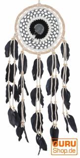 Traumfänger mit gehäkelter Spitze - creme/schwarz 16 cm