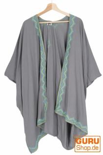 Kurzer bestickter Sommer Kimono, Kaftan, Strandkleid - grau