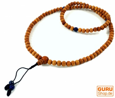 Tibetische Gebetskette, Holzperlen Mala 2 mit Lapislazulit Perlen