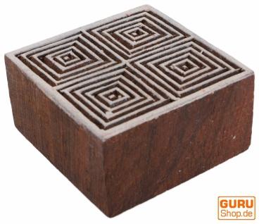 Indischer Textilstempel, Stoffdruckstempel, Blaudruck Stempel, Holz Model - 5*5 cm Spirale 2