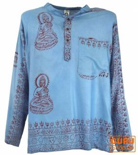 Hare Krishna Mantra Shirt, Goa Hippie Hemd - hellblau