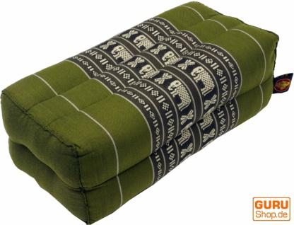Meditationskissen, Blockkissen, eckiges Yoga Stützkissen, Thai Nackenstütze mit Kapok - grün 2
