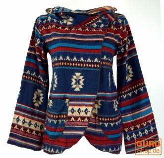 Cape, Boho Wickeljacke Inka Muster - blau/bunt