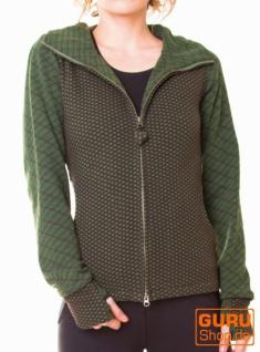 Jacke mit Kapuze aus Bio-Baumwolle / Chapati Design - green/choco