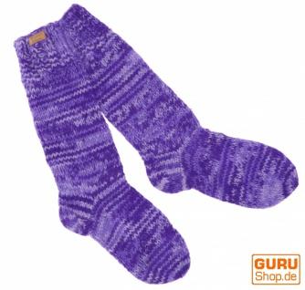 Handgestrickte Schafwollsocken, Haussocken, Nepal Socken - lila
