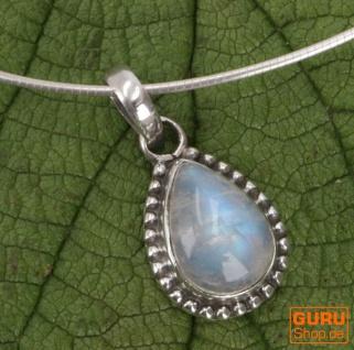 Boho Silberanhänger, Indischer Kettenanhänger aus Silber - Mondstein